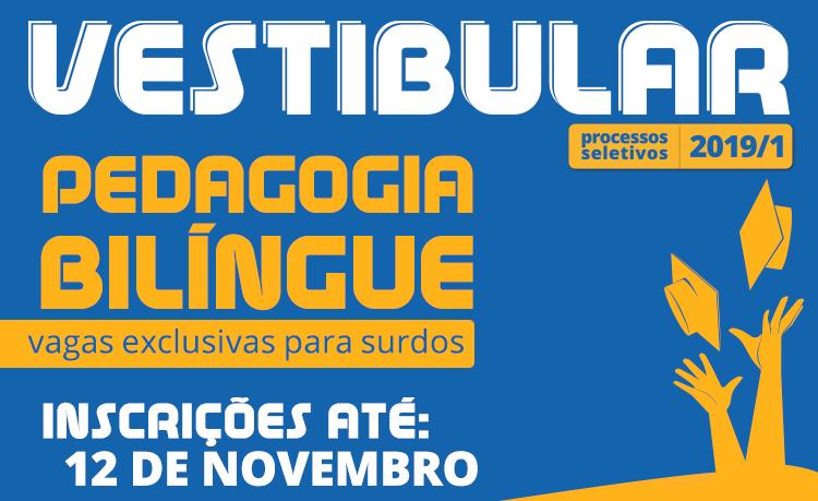 banner sobre vestibular para licenciatura em Pedagogia Bilíngue