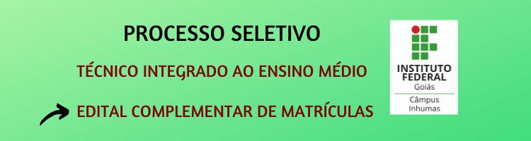 Edital Matrículas 2020-1 -Técnico Integrado