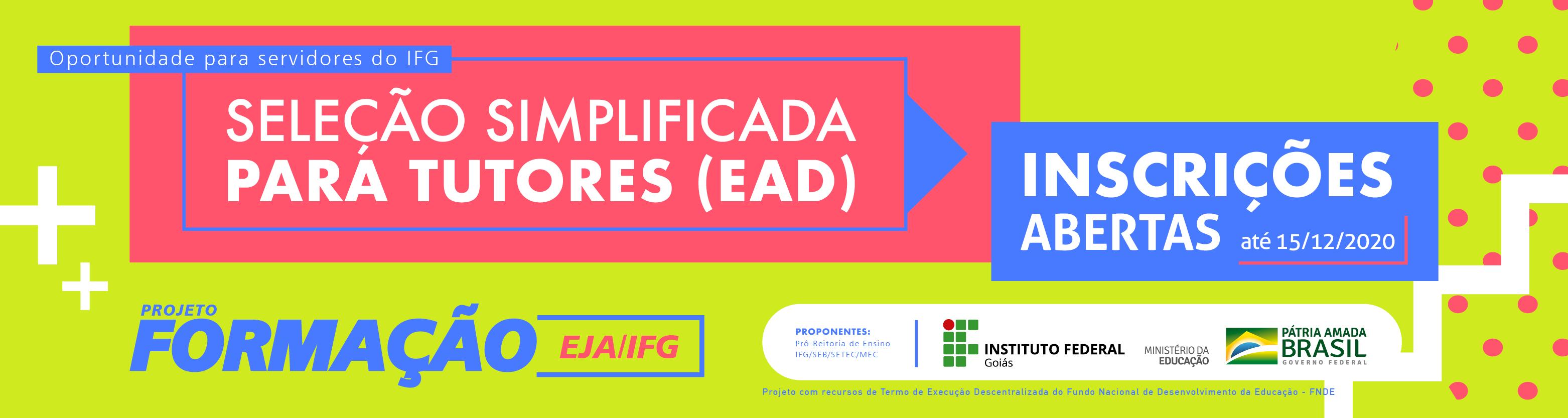 Banner seleção tutores EAD IFG