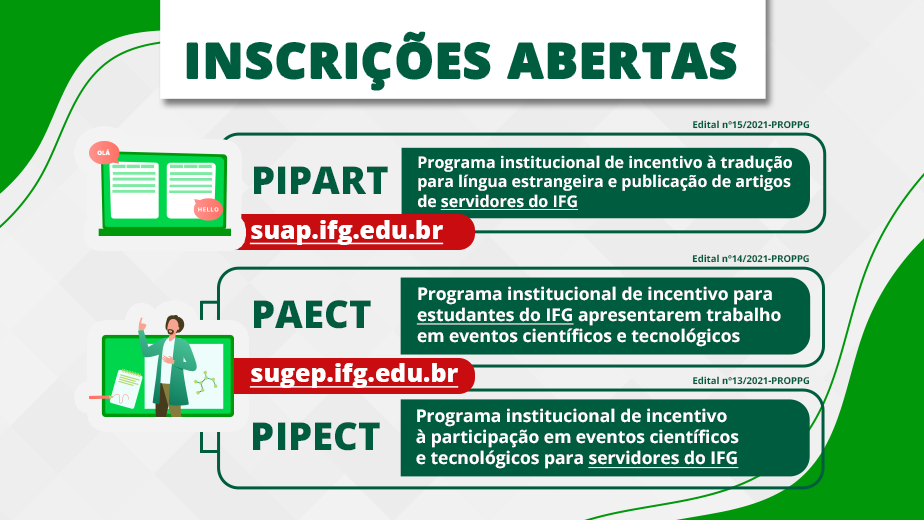 Editais PIPECT, PAECT, PIPART