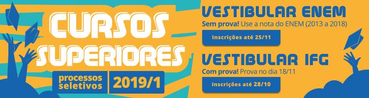 Banner sobre seleção do Vestibular IFG 2019/1